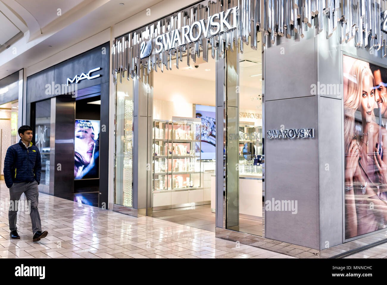 9406b0180fa Tysons, USA - January 26, 2018: Swarovski closeup store sign entrance  shopping in