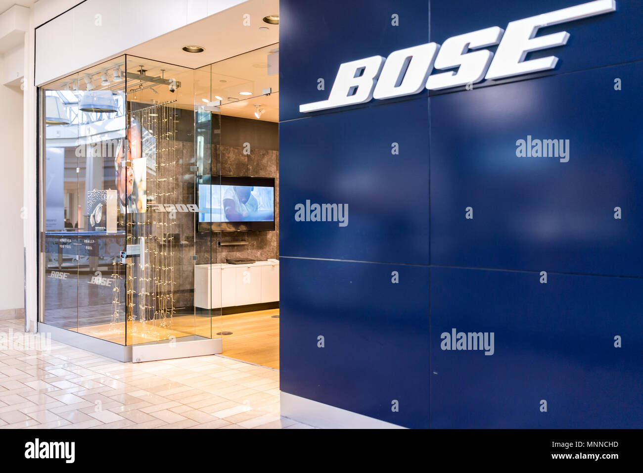 Tysons, USA - January 26, 2018: Bose closeup store sign entrance shopping in Tyson's Corner Mall in Fairfax, Virginia by Mclean - Stock Image