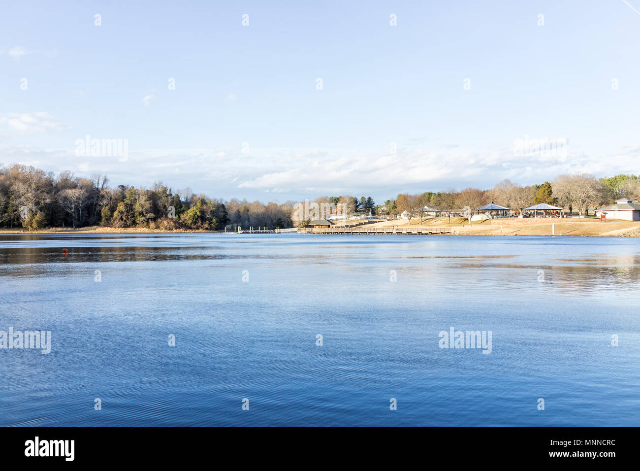 Lake Fairfax Park in winter in Reston, Virginia with