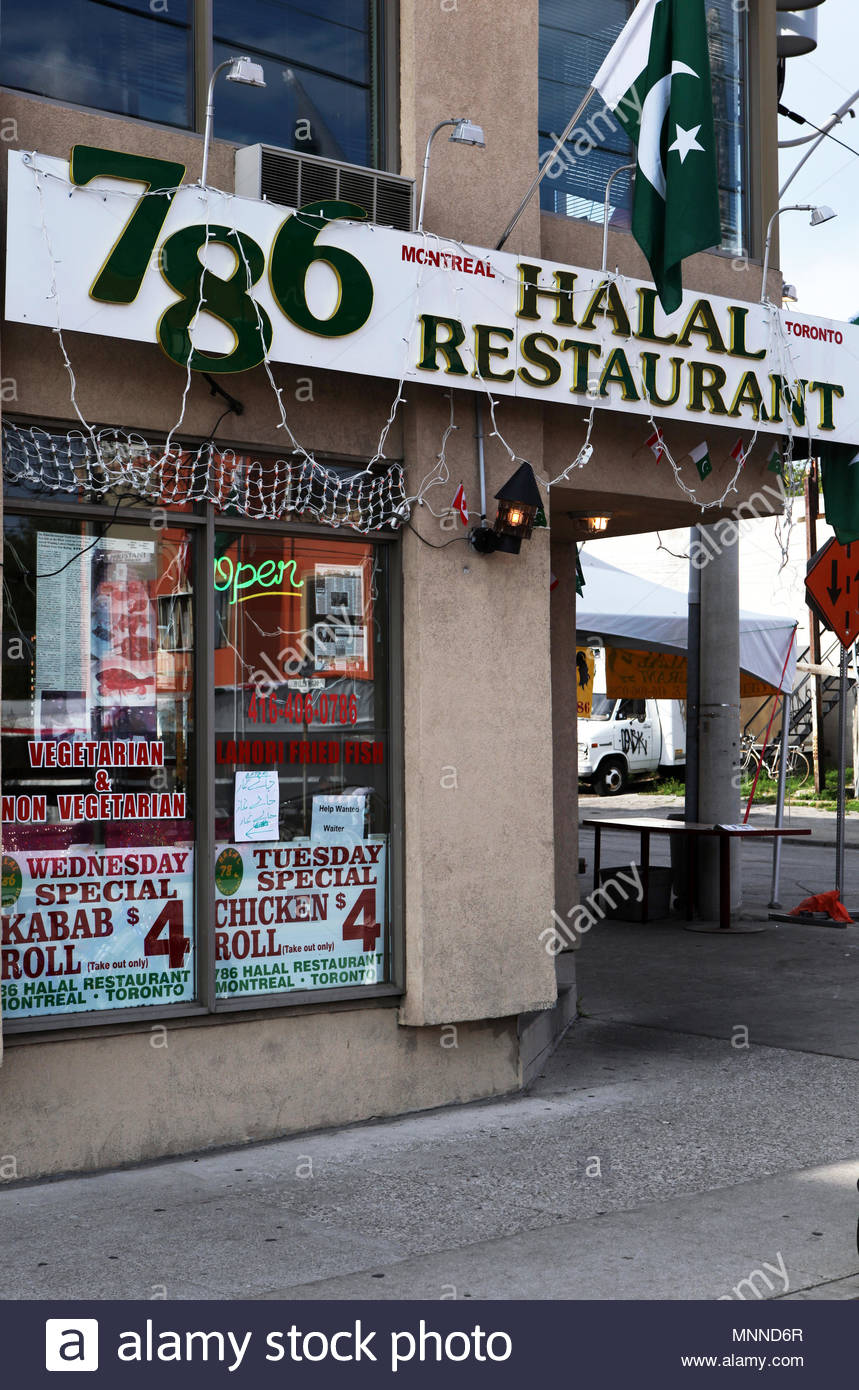 The 786 Pakistani Halal Resturant in Toronto. 786 is the total value of the letters of Bismillah al-Rahman al-Rahim. In Arabic there are two methods o Stock Photo