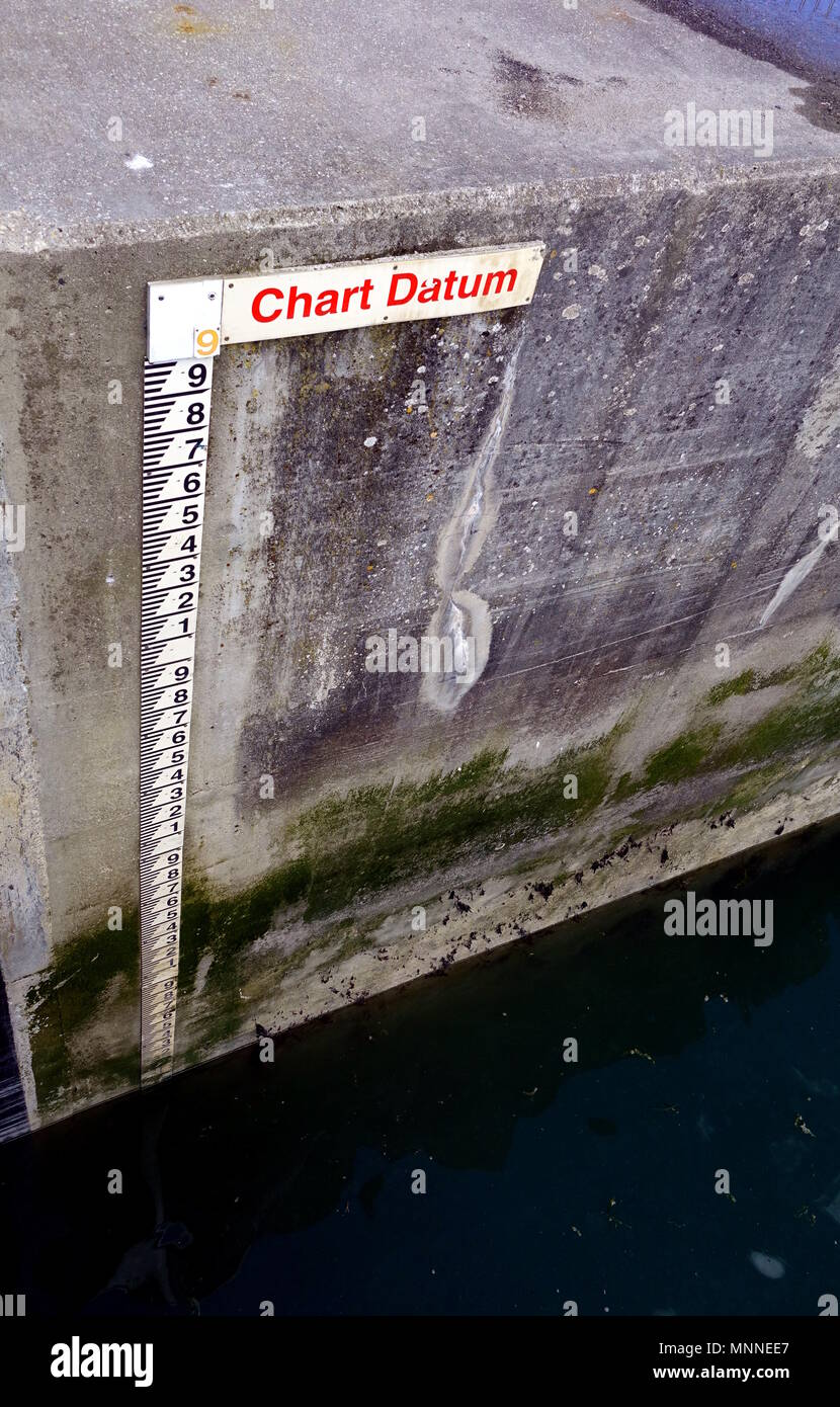 Tide gauge or tide staff on a harbour wall, showing chart datum, used by boats to determine water depth. - Stock Image