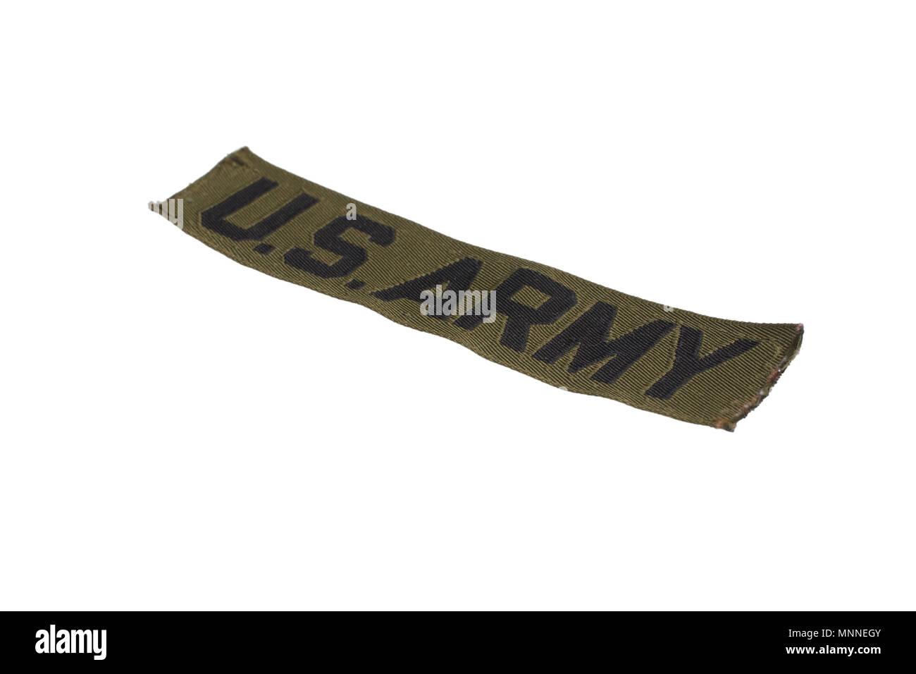 KIEV, UKRAINE - Mar. 29, 2015. Illustrative editorial. US ARMY branch tape uniform badge isolated on white background - Stock Image