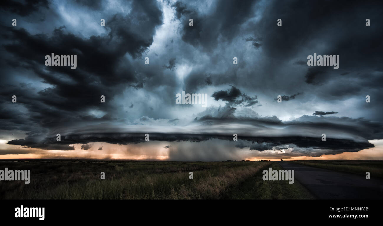 Dramatic storm and tornado - Stock Image