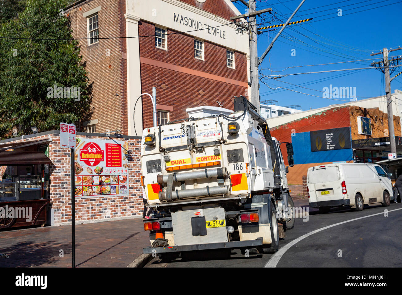 Refuse council garbage truck in Eastwood, Sydney,Australia - Stock Image
