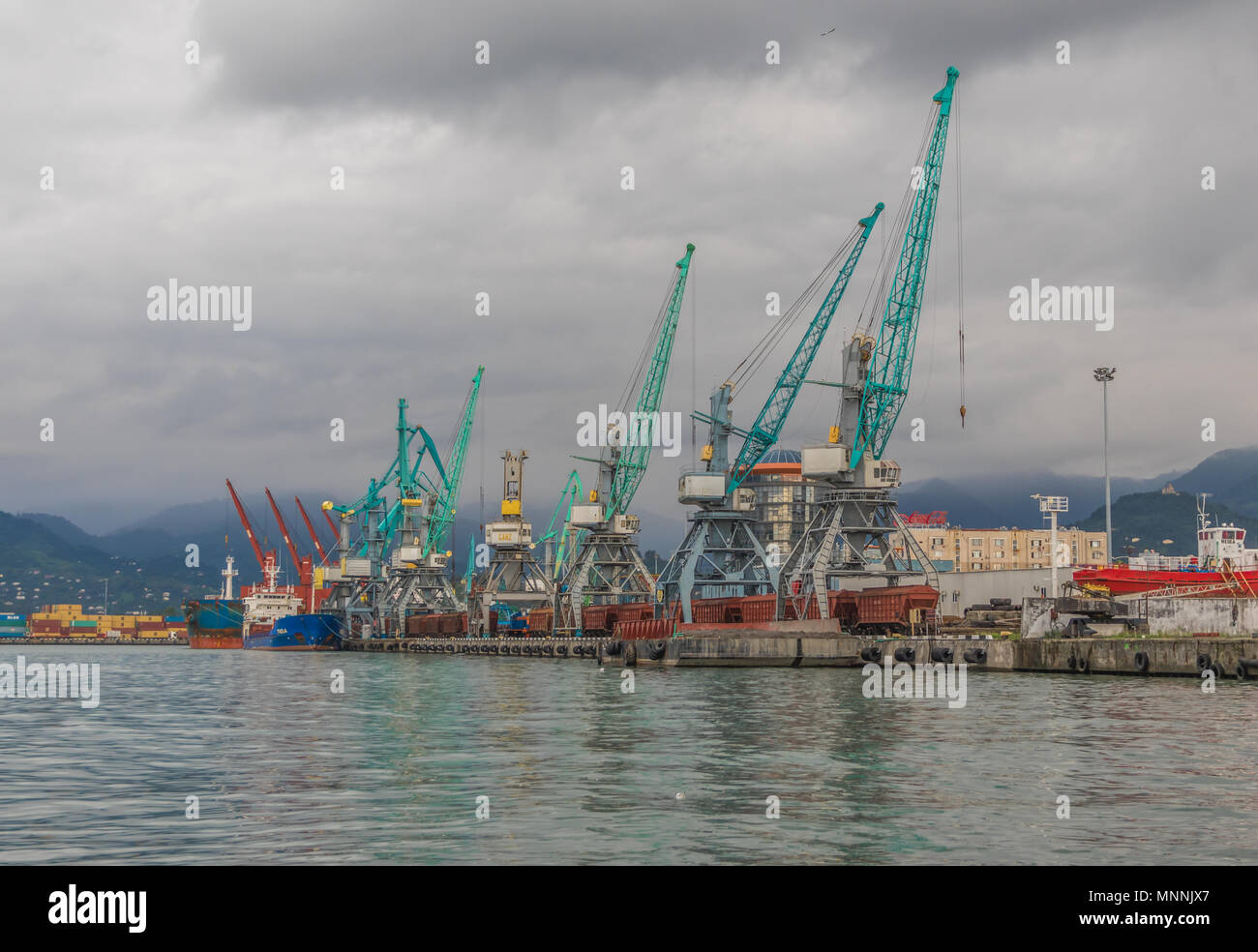 Batumi is a seaside city considered the georgian Las Vegas, and also one of the main sea ports on the black sea. Here the freights harbour - Stock Image