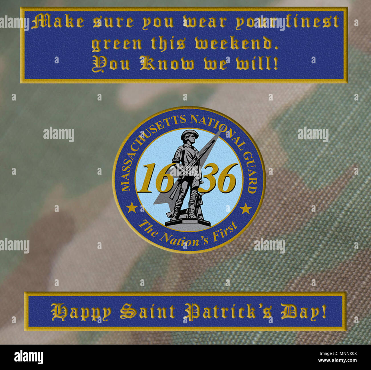 HANSCOM AIR FORCE BASE, Mass. -- Massachusetts National Guard has a heritage of Irish-American's serving within its ranks.  As an organization, we celebrate their contribution this Saint Patrick's Day.  Army illustration Stock Photo