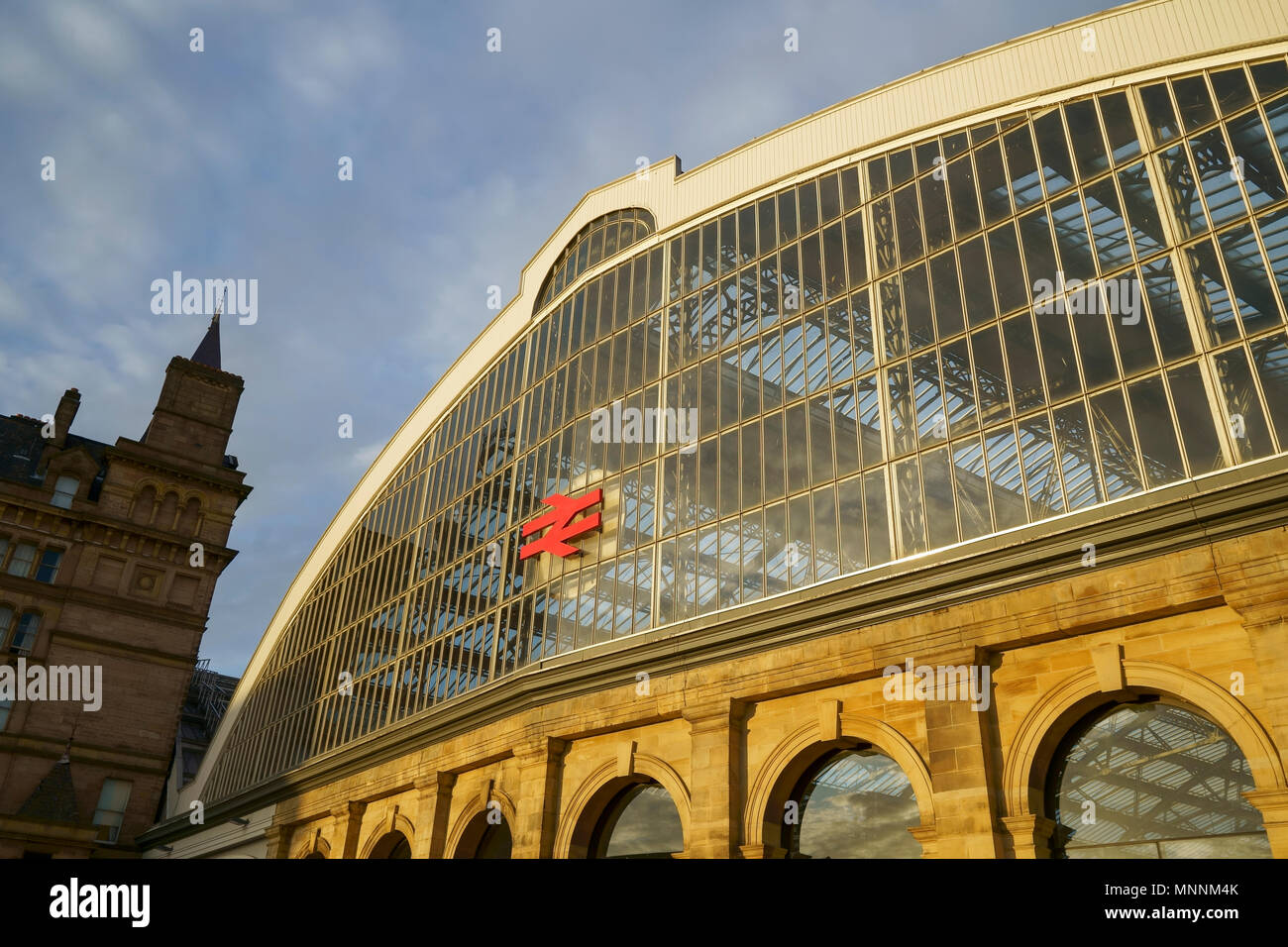 Detail of the front of Lime Street Station in Liverpool city centre UK - Stock Image