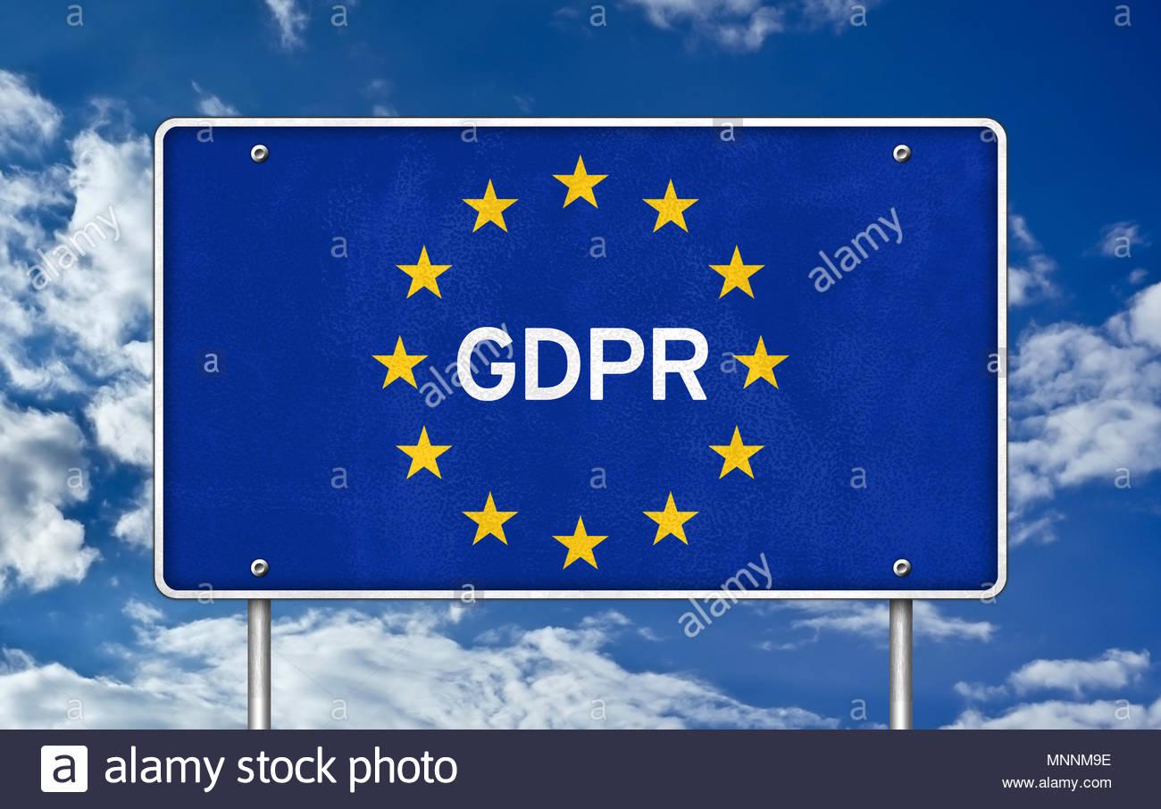 GDPR - General Data Protection Regulation - road sign - Stock Image