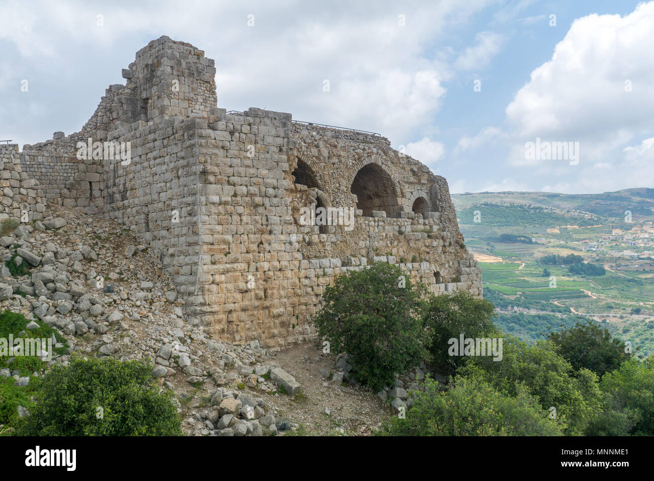 The remains of the Nimrod Fortress, a 13th century Muslim castle in northern Israel, now a national park - Stock Image