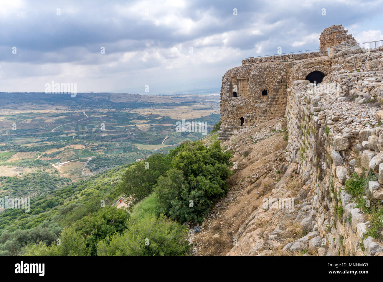 View of landscape and the Nimrod Fortress, a 13th century Muslim castle in northern Israel, now a national park - Stock Image