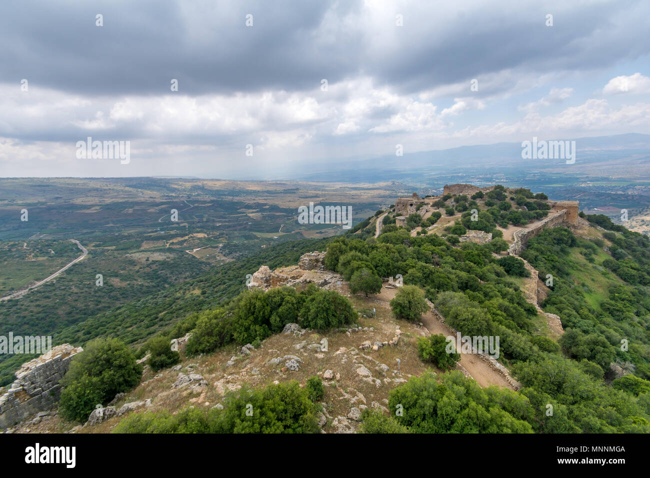 View of Hula Valley landscape and the Nimrod Fortress, a 13th century Muslim castle in northern Israel, now a national park - Stock Image