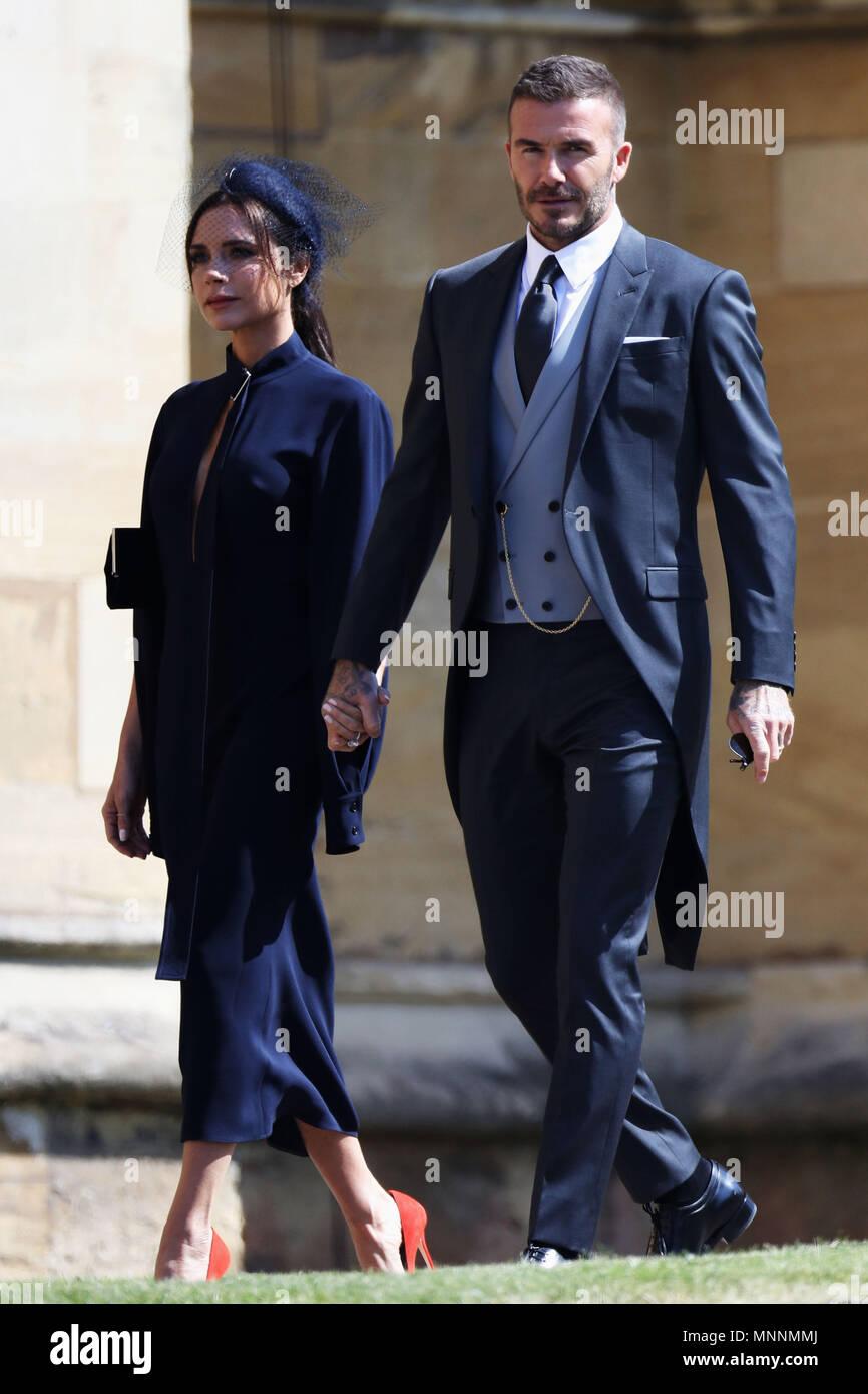 Matrimonio Meghan E Harry : David beckham and victoria beckham arrive at st george s chapel at