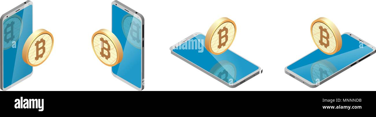 smartphone and bitcoin sign in circle. isometry, set. different view, position. Crypto currency. - Stock Image