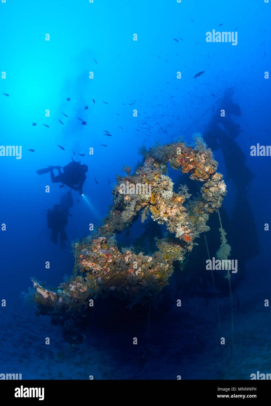Underwater scene with various scuba divers at the Joker wreck, a deep dive site (-48m) at Ses Salines Natural Park (Formentera,Balearic Islands,Spain) - Stock Image
