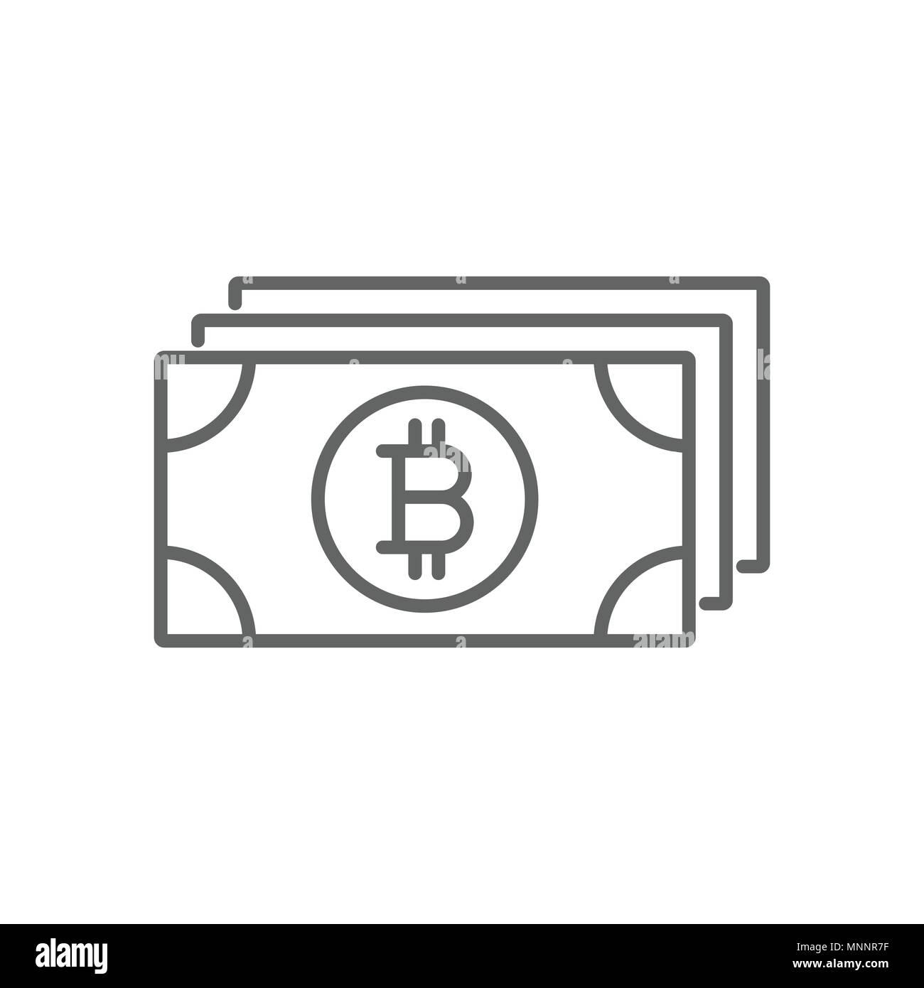 bitcoin paper money thin line vector symbol graphic icon design