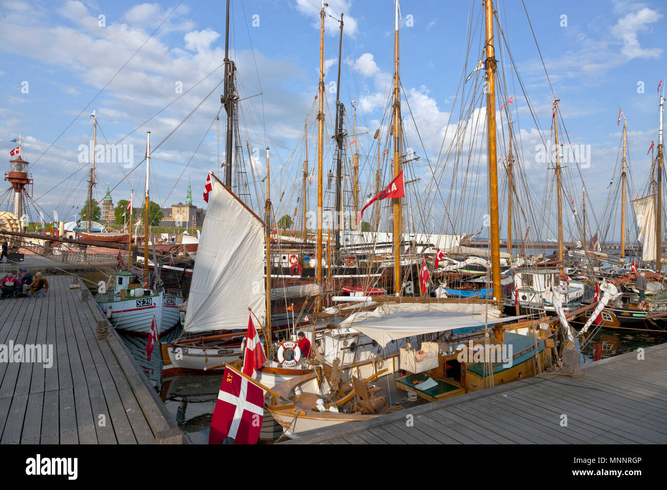 Historical days of more than 100 wooden ships in Elsinore Culture Harbour at Pentecost or Whitsun in Helsingør, Elsinore, Denmark. Kronborg Castle. Stock Photo