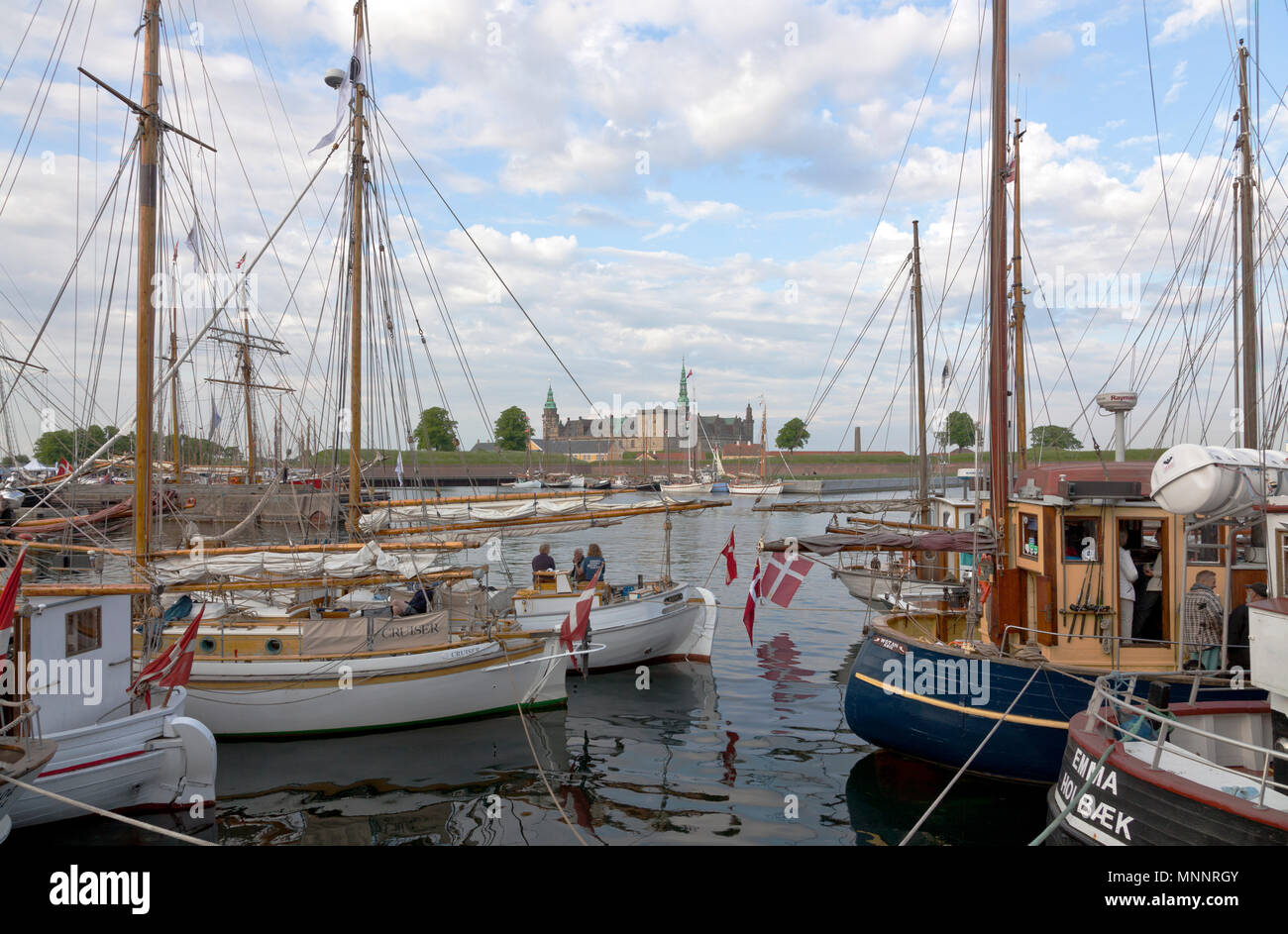Historical days of more than 100 wooden ships in Elsinore Culture Harbour at Pentecost or Whitsun. Helsingør, Elsinore, Denmark. Kronborg Castle. Stock Photo