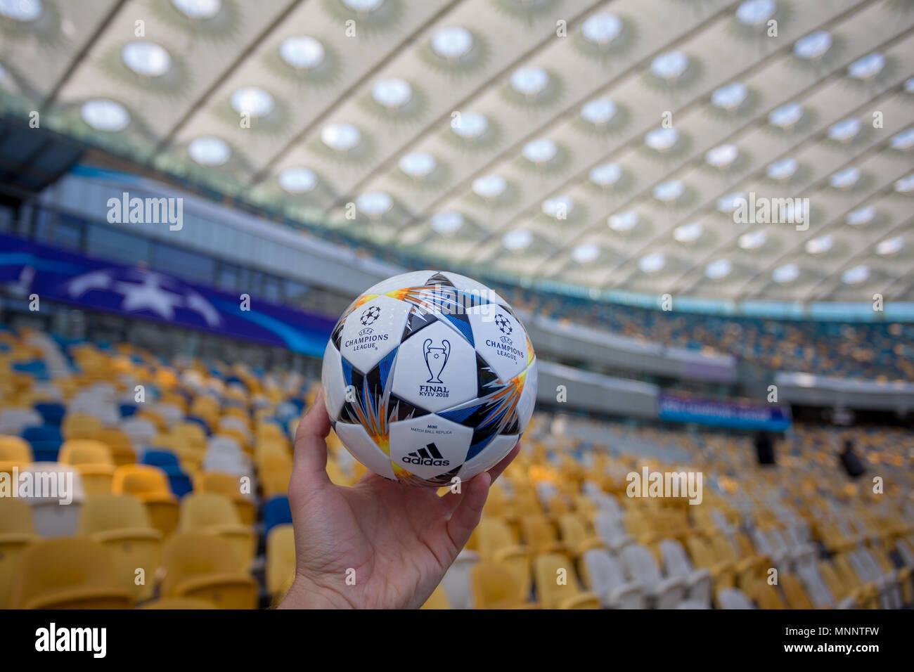 076967329 Kiev, Ukraine - May 16, 2018: UEFA Champions League Final Kyiv official  match ball mini on NSC Olimpiyskiy Satdium.