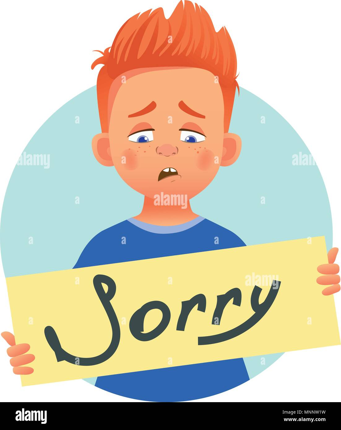 i am sorry message on white background sad boy holding poster with word sorry conceptual handwritten message