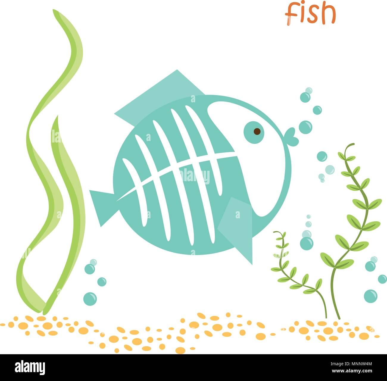 Fish isolated. Drawing fish for a child - Stock Image