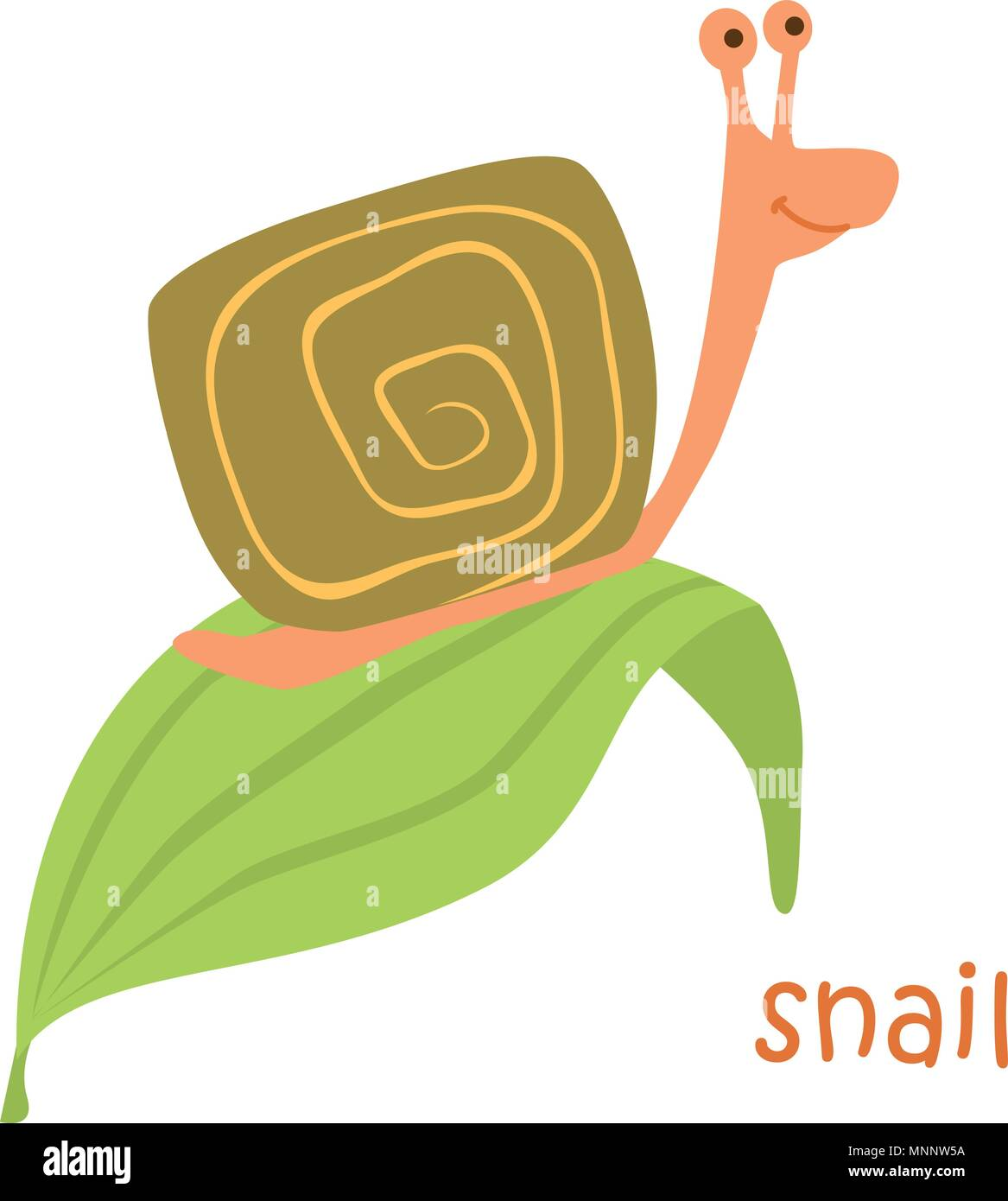 Snail isolated. Drawing snail for a child - Stock Vector