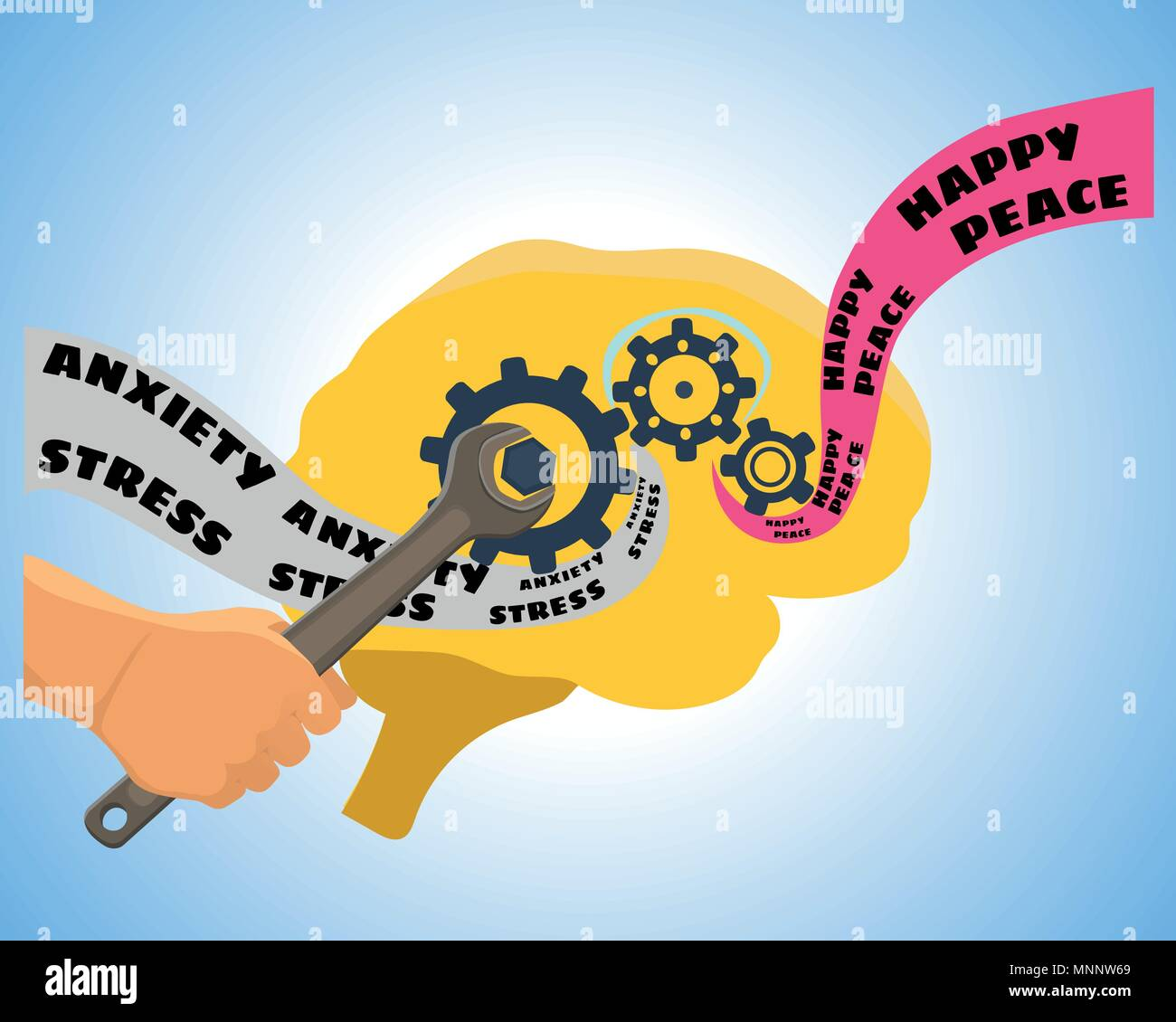 Brain training vector illustration. Mental psychology problem, health and psychiatrist, human mind, medical stress, depression and therapy illustratio - Stock Image