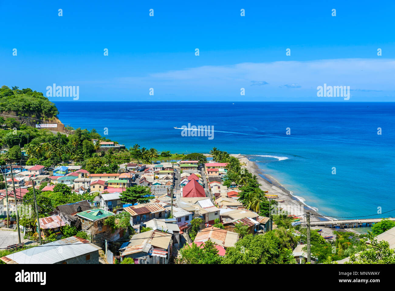 Canaries - Village on the Caribbean island of St. Lucia. It is a paradise destination with a white sand beach and turquoiuse sea. - Stock Image
