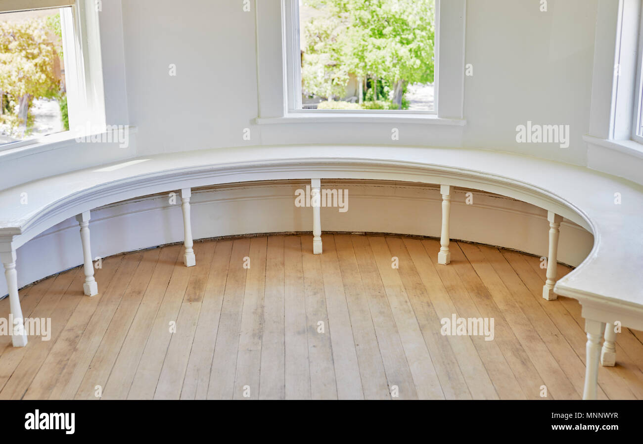 Victorian Style Half Round Wooden Window Bench And Old Oak