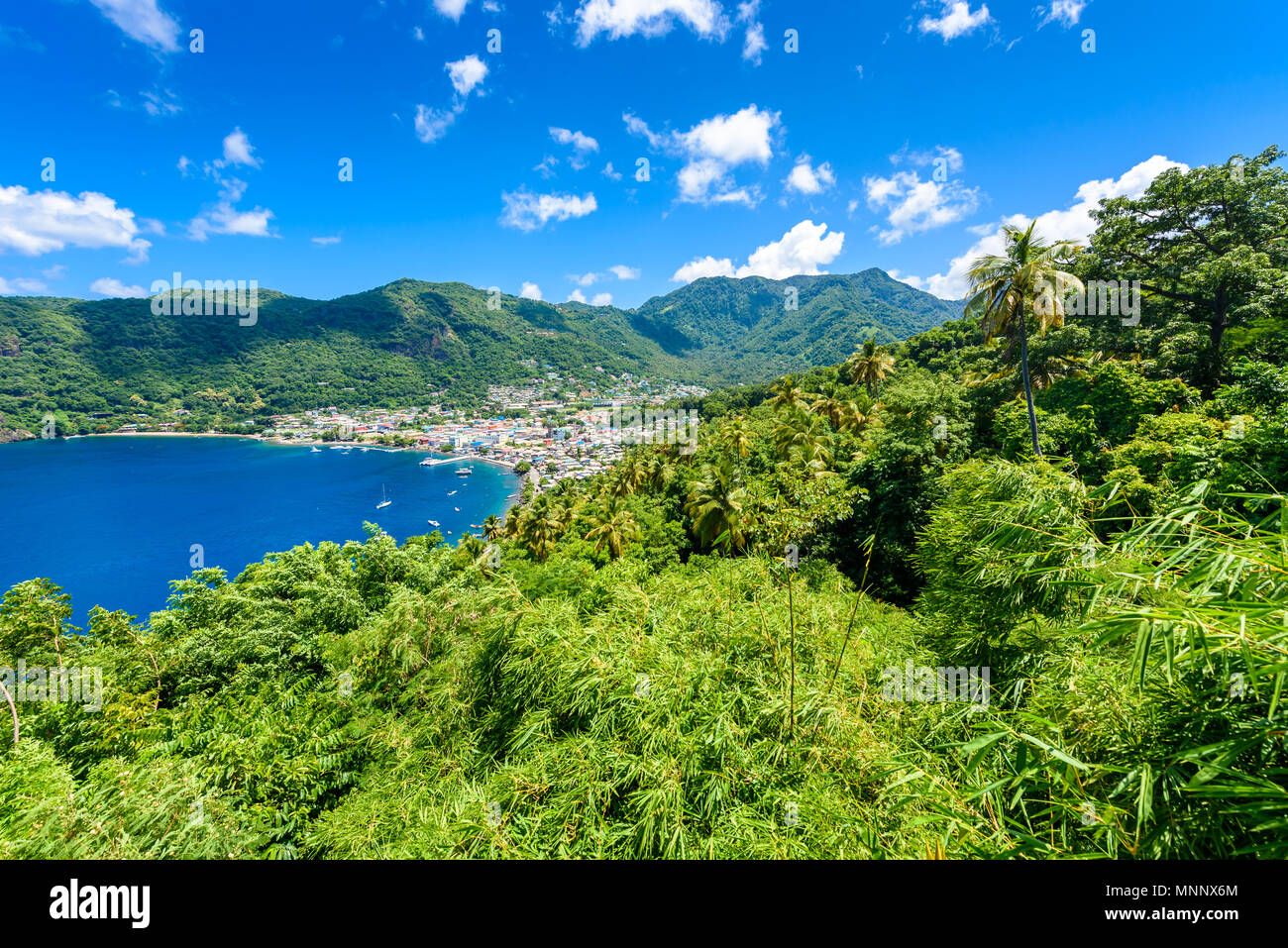 Soufriere Village - tropical coast on the Caribbean island of St. Lucia. It is a paradise destination with a white sand beach and turquoiuse sea. - Stock Image