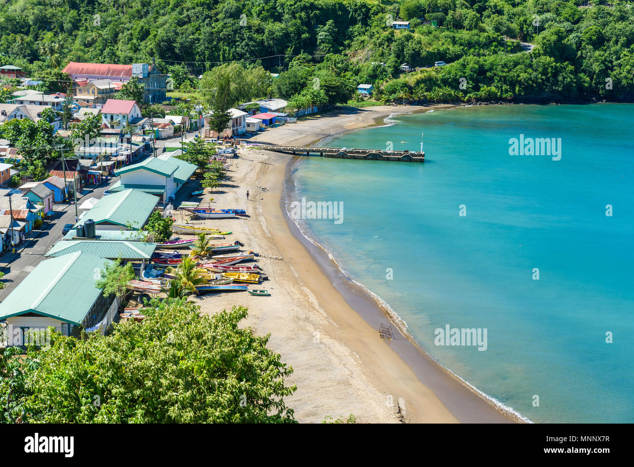 Anse la Raye - tropical beach on the Caribbean island of St. Lucia. It is a paradise destination with a white sand beach and turquoiuse sea. Stock Photo