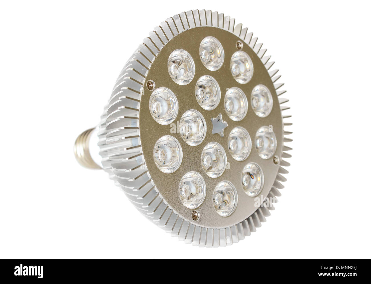 LED lamp closeup isolated on white background - Stock Image