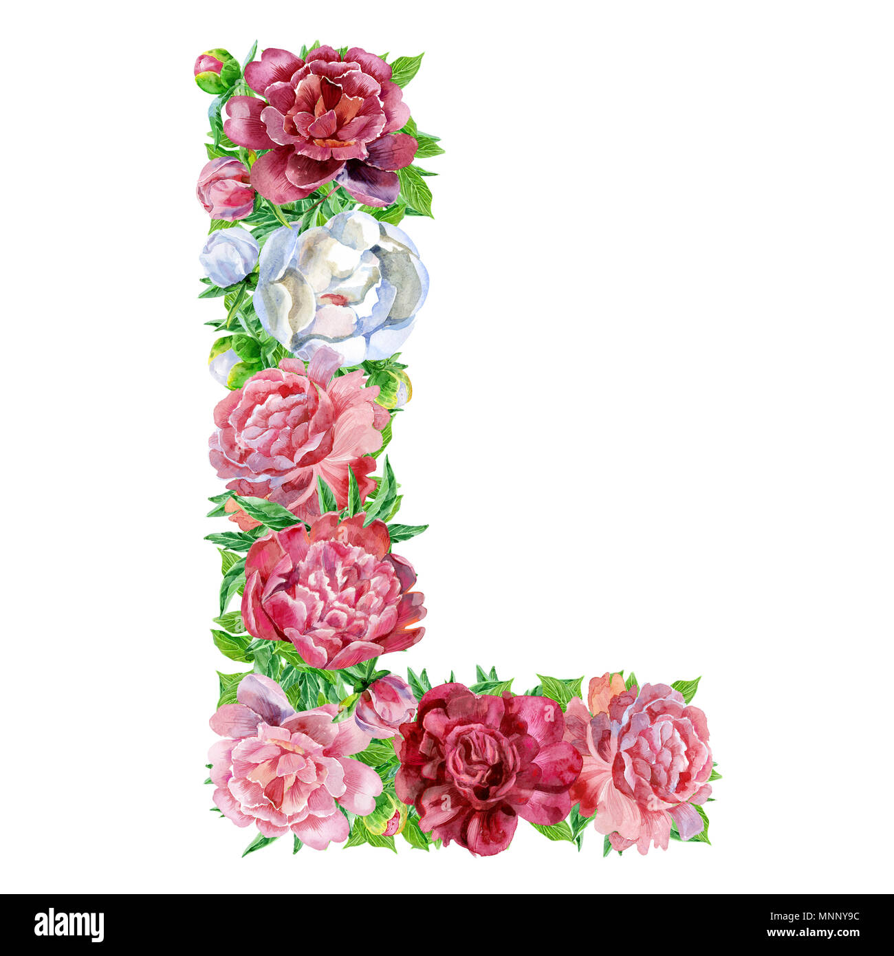 letter l of watercolor flowers isolated hand drawn on a white background wedding design english alphabet