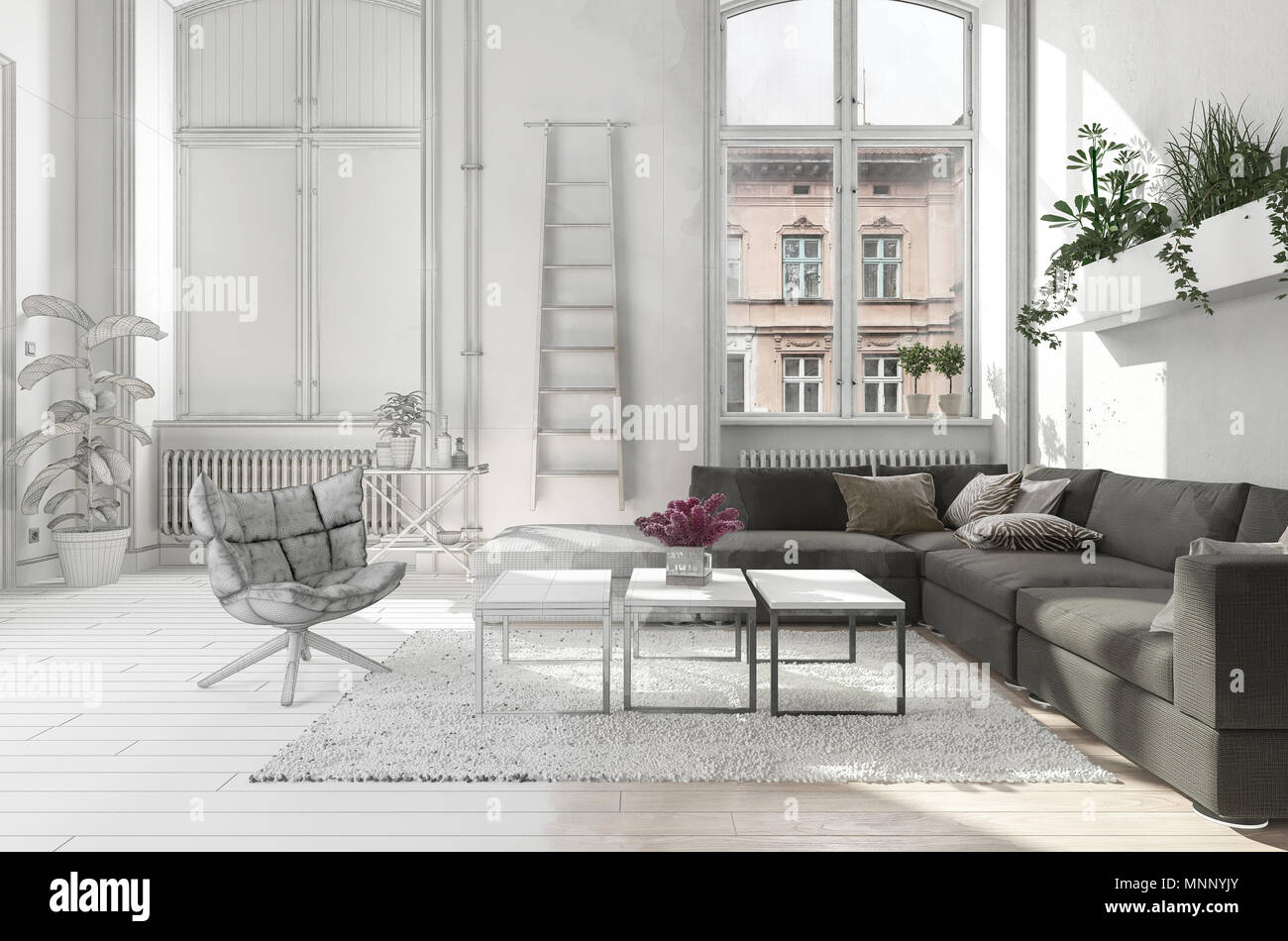 Elegant Stylish Monochrome White Living Room Interior In An Urban Apartment With A Comfortable Sofa In Front Of Tall Bright Windows With Radiators Ch Stock Photo Alamy