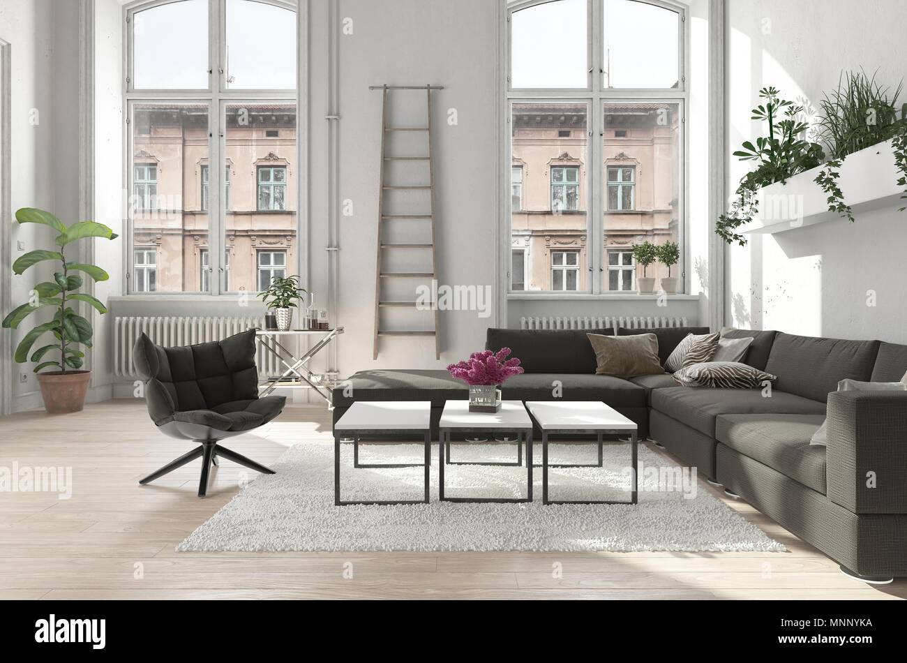 Spacious Urban Apartment Living Room With Potted Plants And Comfortable  Upholstered Sofa And Chair Lit By Two Tall Arched Windows. 3d Render