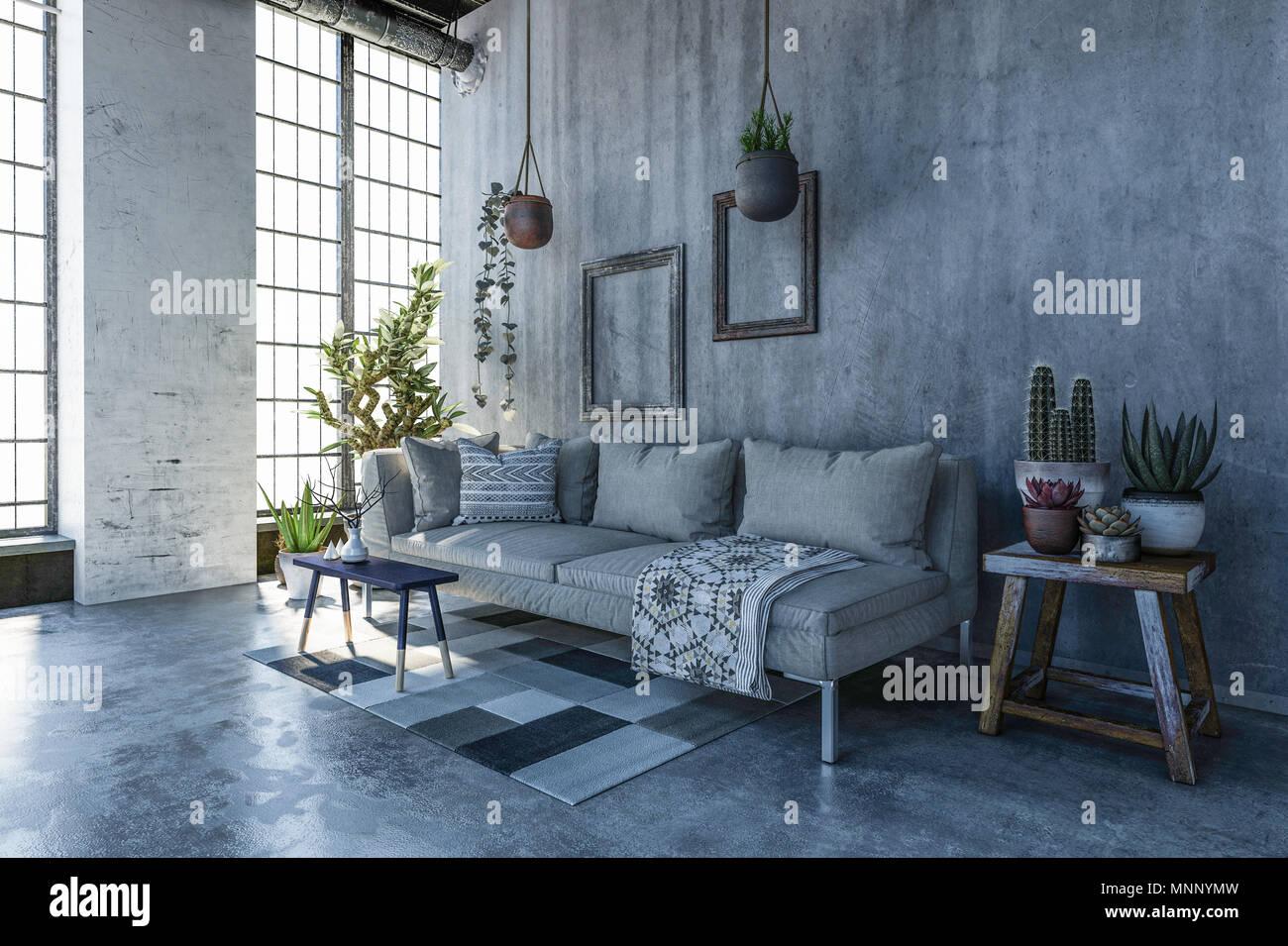 Cozy Corner In A Loft Conversion Living Room With Monochrome