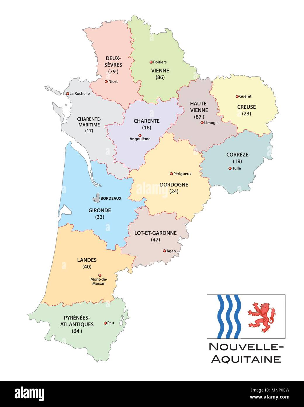 And Political Vector Map Of The Region Nouvelle Aquitaine With Flag