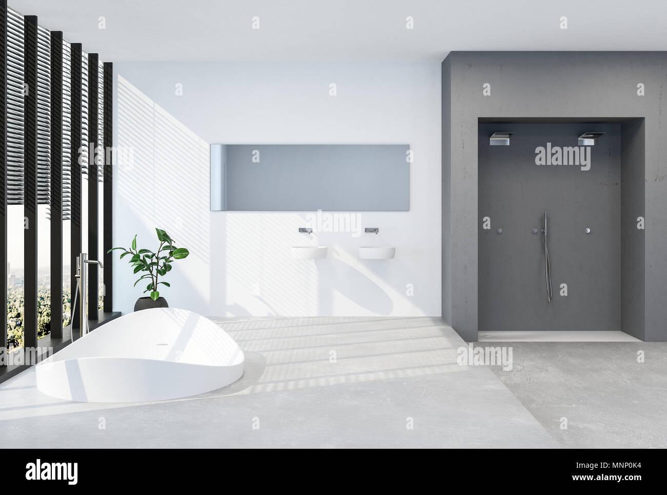 Modern luxury bathroom with sunken tub in a raised platform in front ...