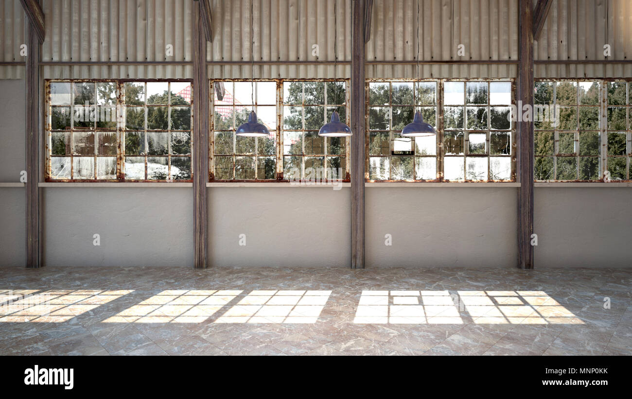 Empty interior of a brightly lit rustic industrial warehouse with ...