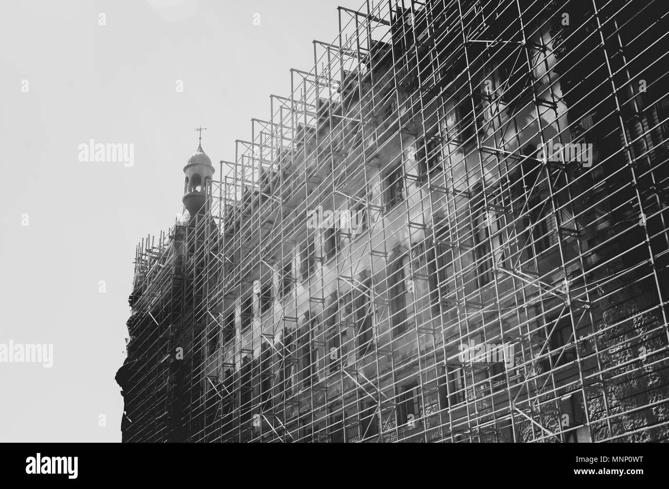 Scaffolding for the renovation of Haydarpasa train station, Istanbul, Turkey - Stock Image