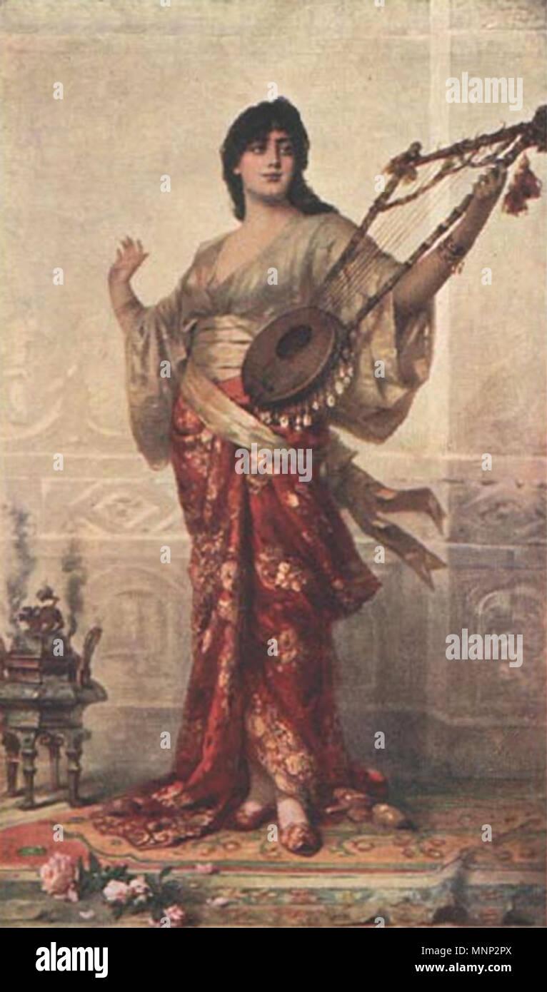 . Deutsch: Junge Frau mit Zupfinstrument . before 1907. Nathaniel Sichel  (1843–1907) Alternative names Nathanael Sichel; Sichel; nathan sichel; ...