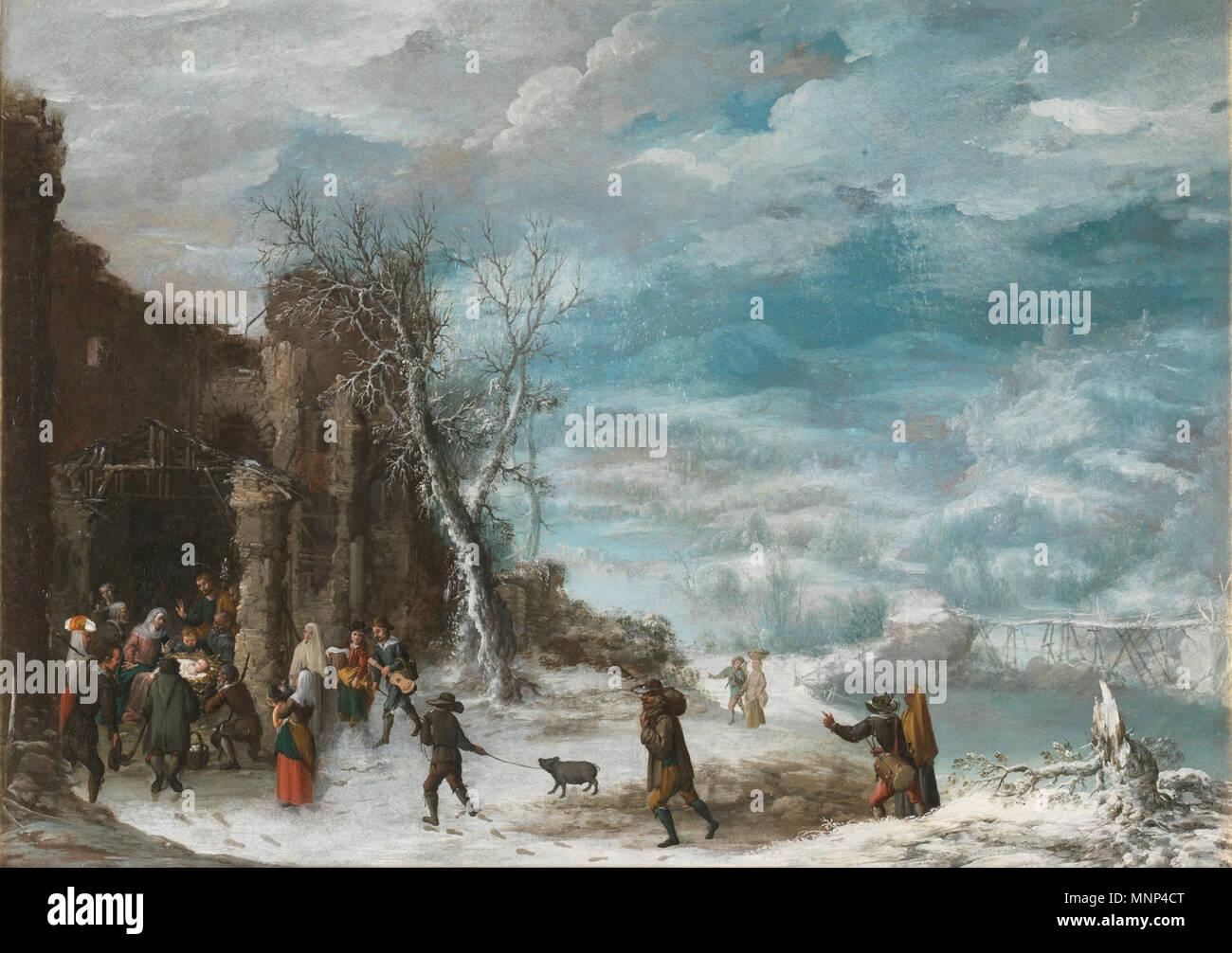 953 Paisaje de invierno con la Adoración de los pastores, de Francisco Collantes (Museo del Prado) - Stock Image