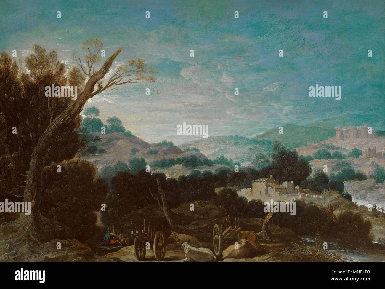 Paisaje con pastores   Primera mitad del siglo XVII.   953 Paisaje con pastores, de Francisco Collantes (Museo del Prado) - Stock Image