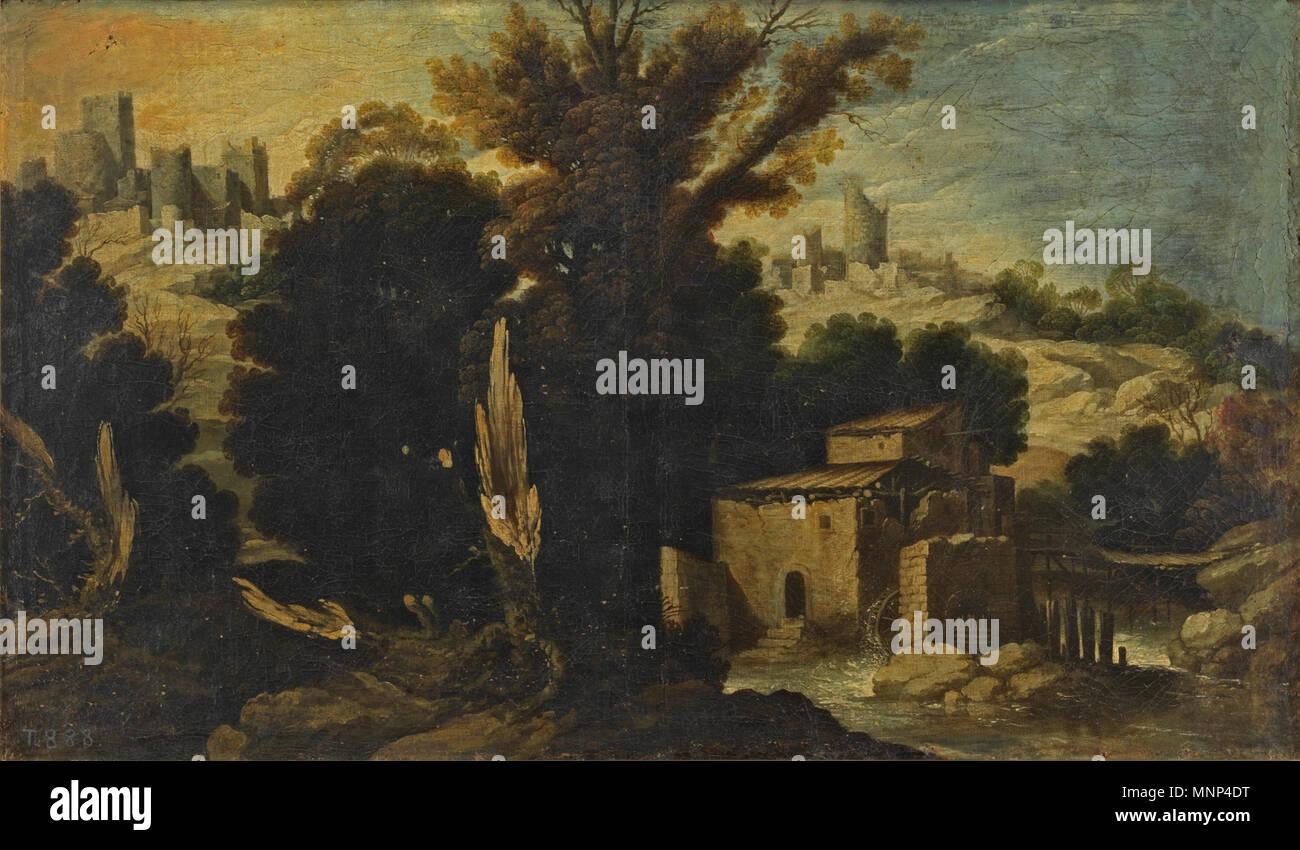 Paisaje   17th century.   954 Paisaje, de Francisco Collantes. (Museo del Prado) - Stock Image