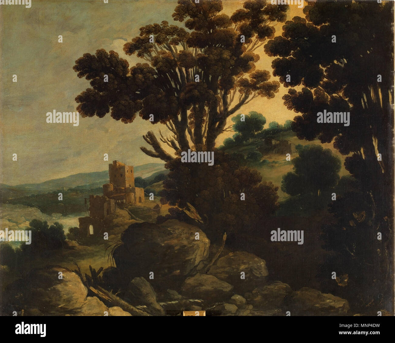Paisaje   Primera mitad del siglo XVII.   954 Paisaje, de Francisco Collantes (Museo del Prado) - Stock Image