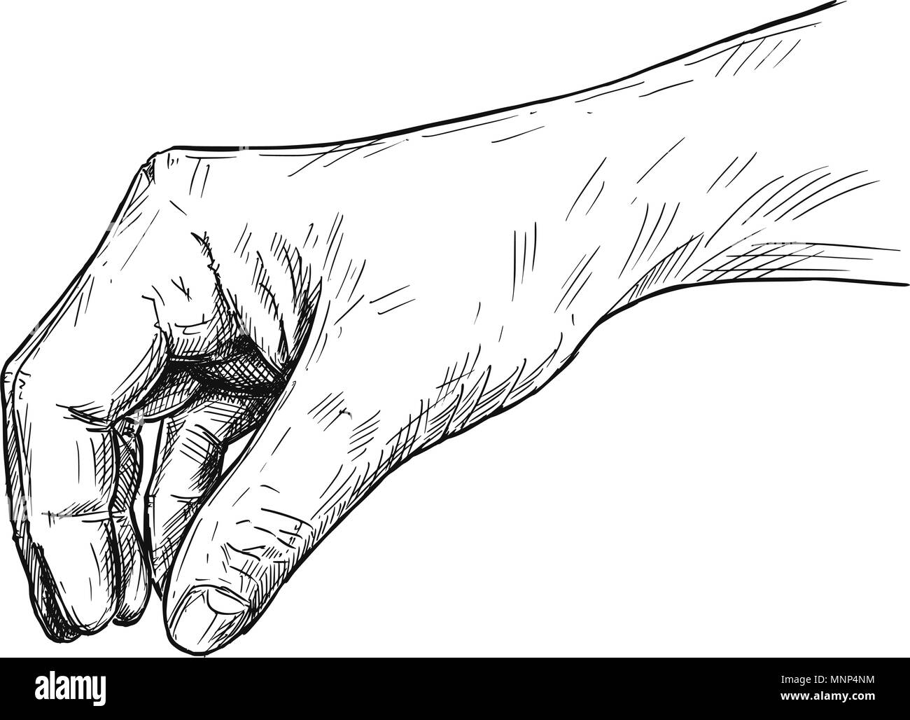 Vector Artistic Illustration or Drawing of Hand Holding Something Small Between Pinch Fingers Stock Vector