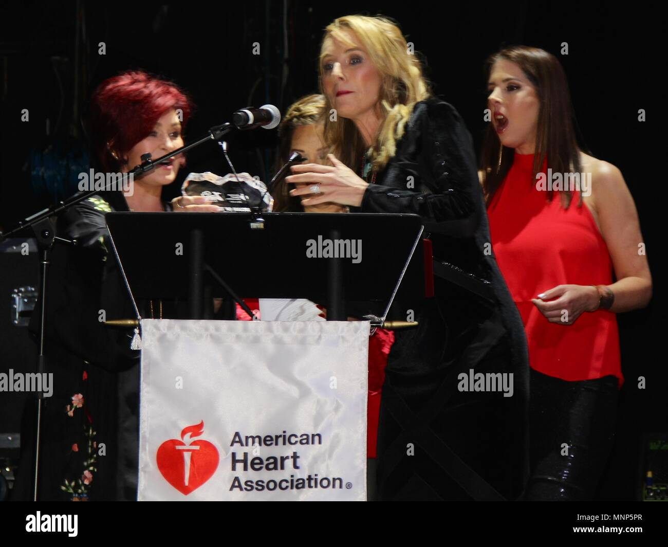 Hollywood, California, USA. 17th May, 2018. I15986CHW.The American Heart Association Presents The 3rd Annual ROCK THE RED Music Benefit .Avalon Hollywood, Los Angeles, CA USA.05/17/2018.SHARON OSBOURNE, CHYNNA PHILLIPS AND WENDY WILSON . © Clinton H.Wallace/Photomundo International/ Photos Inc Credit: Clinton Wallace/Globe Photos/ZUMA Wire/Alamy Live News - Stock Image