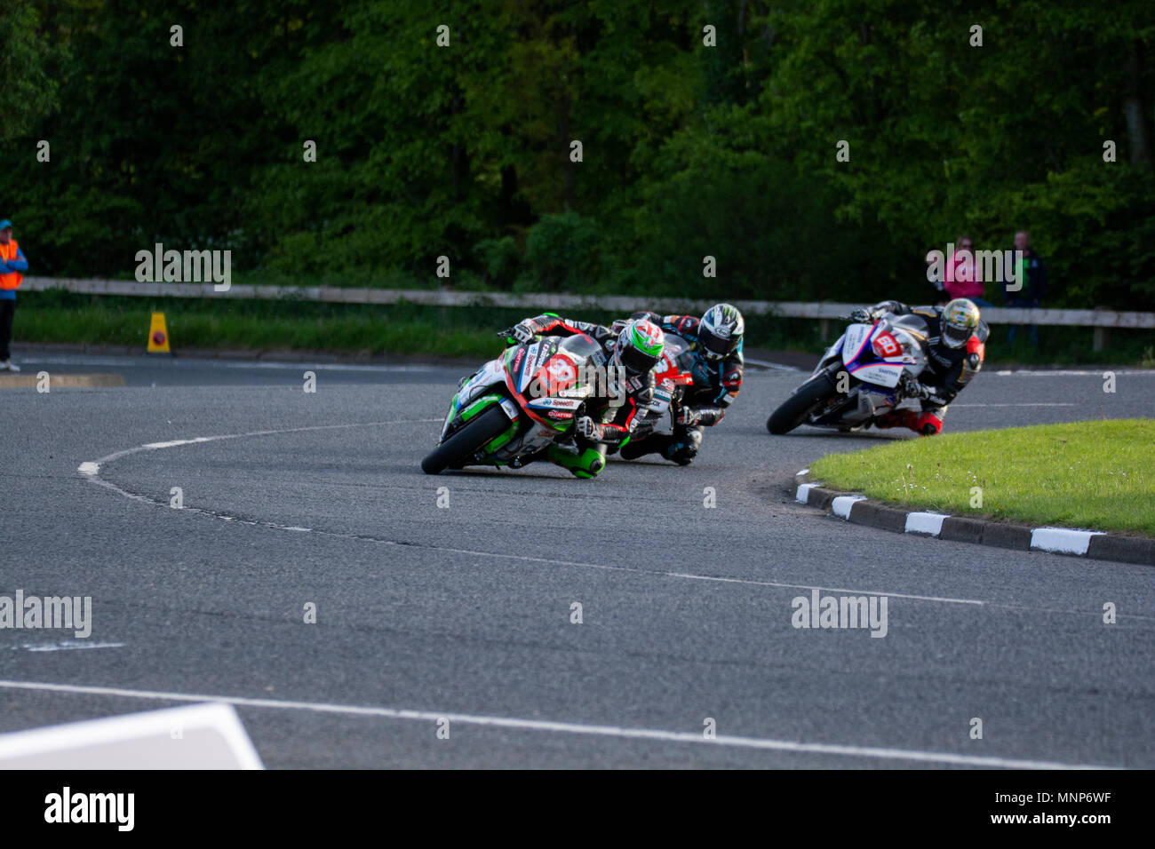 Ballysally Roundabout Coleraine Northern Ireland. 17th May 2018. NW 200 Bayview Superstock Race. James Hillier(37) leads Peter Hickman (60) and Michael Dunlop( 3) through the Roundabout at Ballysally Credit: Brian Wilkinson/Alamy Live News - Stock Image