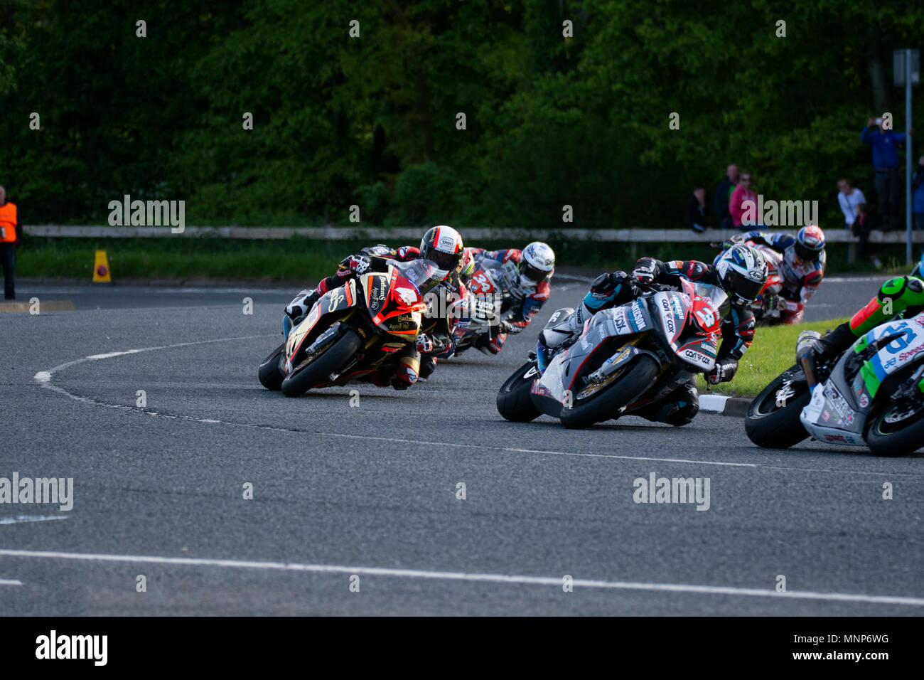 Ballysally Roundabout Coleraine Northern Ireland. 17th May 2018. NW 200 Bayview Superstock Race. Som,e of the action at the Ballysally Roundabout Credit: Brian Wilkinson/Alamy Live News - Stock Image