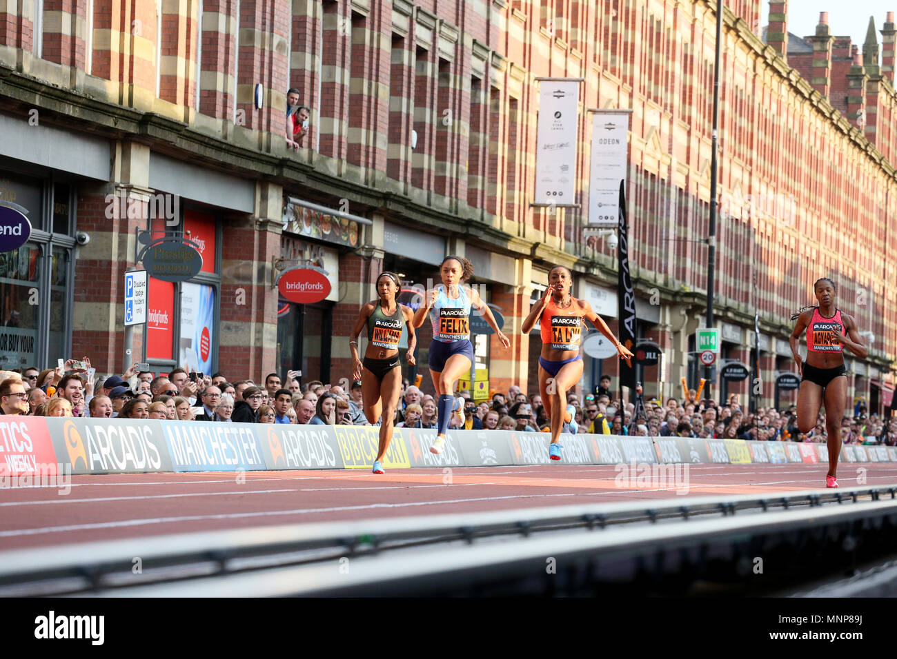Manchester, UK. 18th May, 2018. Marie Josee Ta Lou, Allyson Felix, Bianca Williams and Finette Agyapong at the Arcadis Great City Games, Manchester,18th May, 2018 (C)Barbara Cook/Alamy Live News - Stock Image