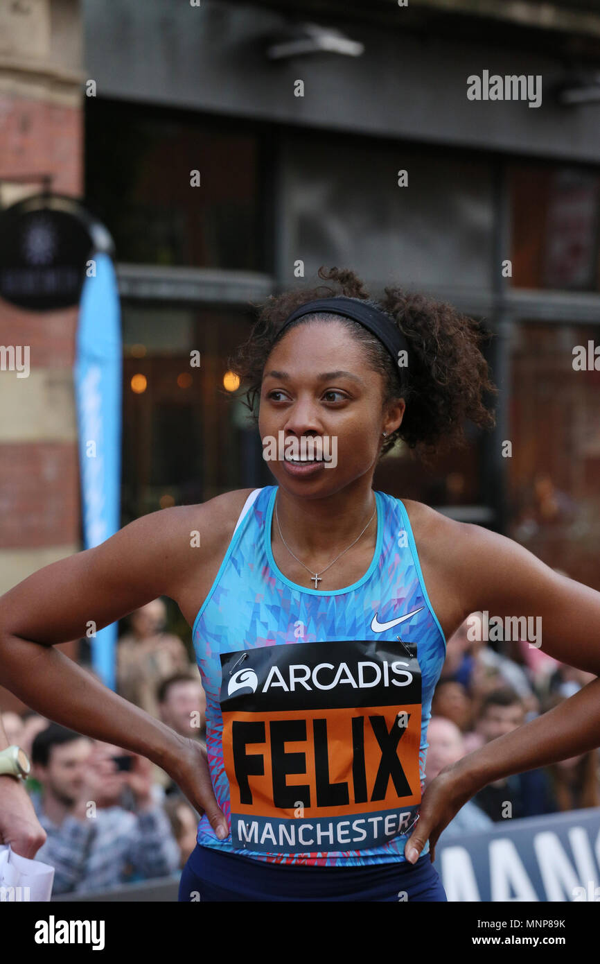 Manchester, UK. 18th May, 2018. Sprinter Allyson Felix at the Arcadis Great City Games, Manchester,18th May, 2018 (C)Barbara Cook/Alamy Live News - Stock Image